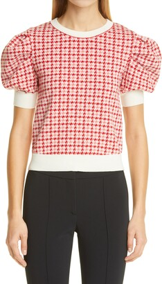 Adam Lippes Houndstooth Wool Jacquard Sweater