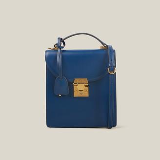 Mark Cross Blue Uptown Caviar Grained Leather Bag