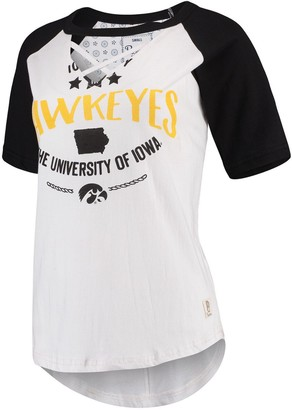 Women's Pressbox White/Black Iowa Hawkeyes Abbie Criss-Cross Raglan Choker T-Shirt