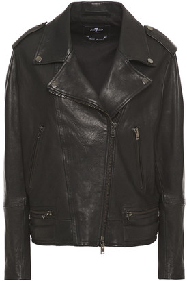7 For All Mankind Quilted Washed-leather Biker Jacket