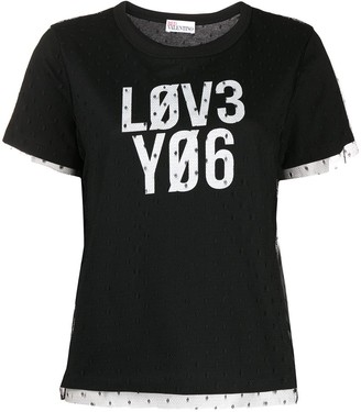 RED Valentino Love You point d'esprit T-shirt