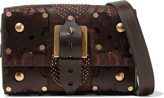Valentino Embellished Canvas And Leather Shoulder Bag