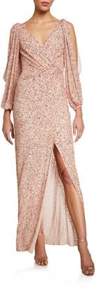 Jenny Packham Cold-Shoulder Wrapped Shimmer Gown