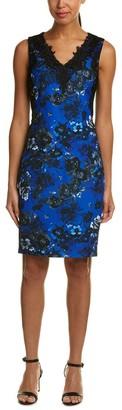 T Tahari Women's Lace V-Neck Crepe Dress