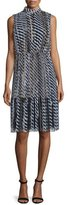 St. John Layered Stencil-Stripe Sleeveless Dress, Caviar/Multi
