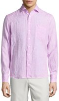Neiman Marcus Linen Chambray Long-Sleeve Button-Front Shirt, Pink