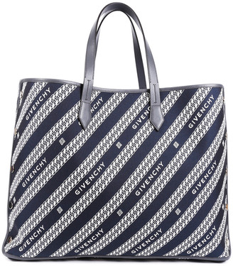 Givenchy 2019 Blue & White Canvas & Leather Large Bond Shopper Tote Nm