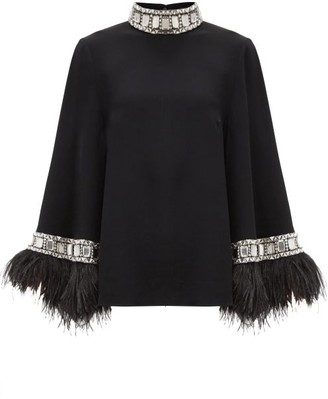 Andrew Gn Crystal & Ostrich Feather-trimmed Crepe Blouse - Black