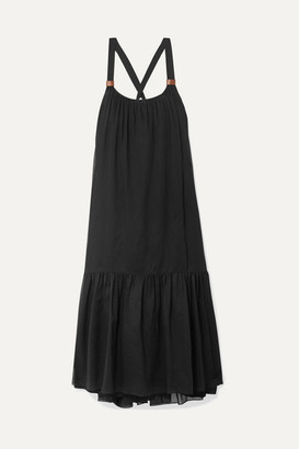 Tibi Leilei Faux Leather-trimmed Lyocell Midi Dress - Black
