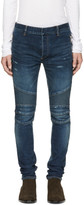 Balmain Blue Silm Biker Zip Jeans