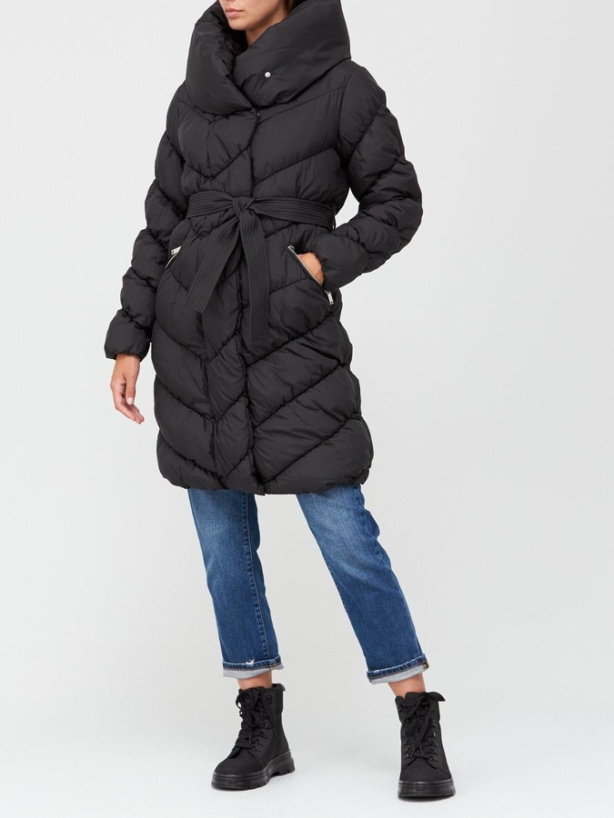 Thumbnail for your product : Very Shawl Collar Chevron Padded Coat - Black