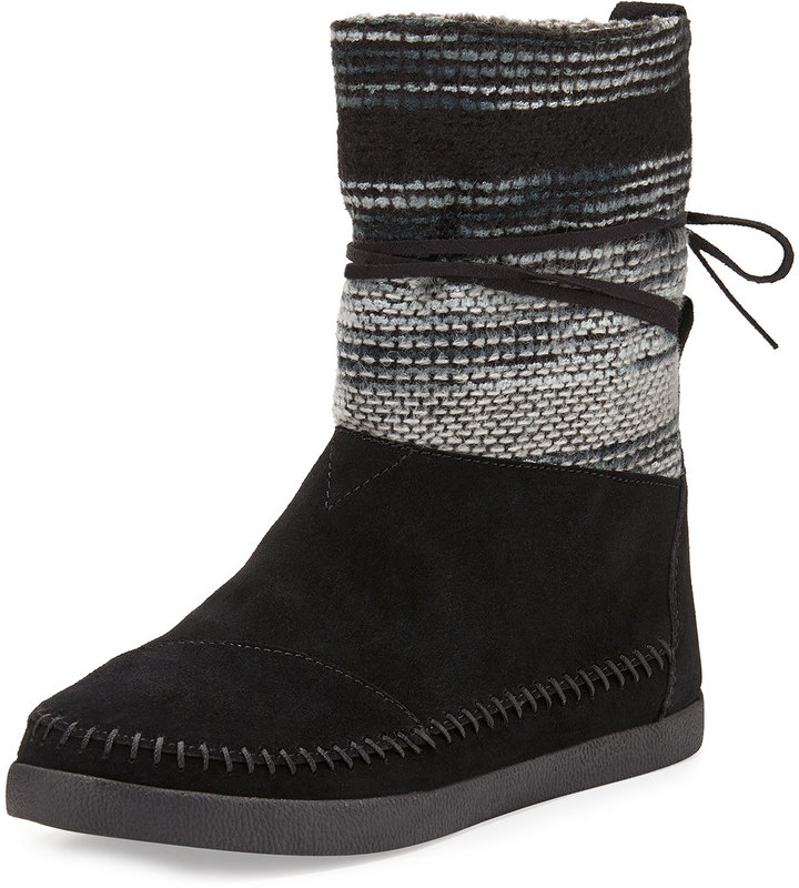 Toms Striped Suede Nomad Boot, Black