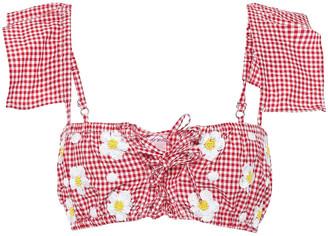 SUNDRESS Katy Ace-up Embellished Gingham Cotton-blend Top