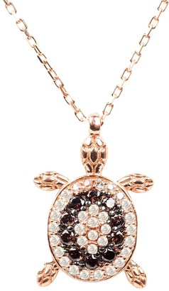 Latelita Turtle Chocolate Pendant Necklace Pink Rose Gold