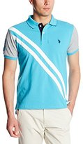 U.S. Polo Assn. Men's Slim Fit Contrast Sleeves and Striped Under Collar