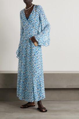 De La Vali Oswoldo Floral-print Recycled Georgette Wrap Maxi Dress - Blue