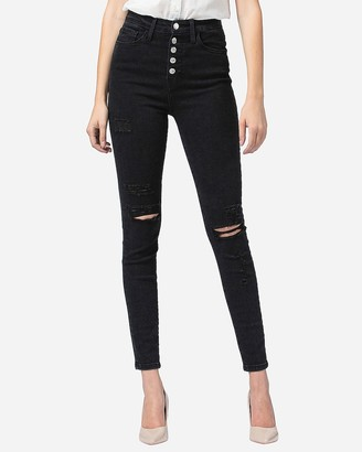 Express Flying Monkey Black Super High Waisted Ripped Button Fly Skinny Jeans