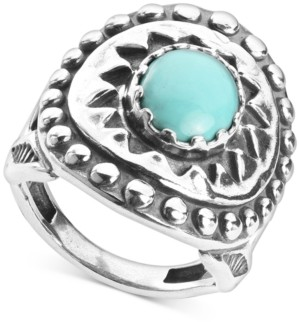American West Turquoise Star Statement Ring in Sterling Silver