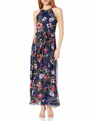 Jessica Howard Women's Halter Maxi Dress with Sash at Waist
