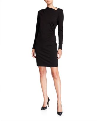 Elie Tahari Mozelle Asymmetric Long-Sleeve Ponte Dress