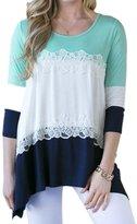 Ninimour Womens Long Sleeves Striped Patchwork Lace Casual Loose T-Shirt Blouse Tops