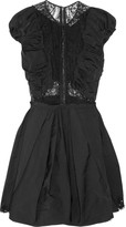 Ruched taffeta and lace dress