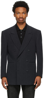 Ermenegildo Zegna Couture Black Linen Oversized Double-Breasted Blazer