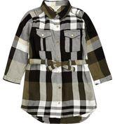 River Island Mini girls khaki check shirt dress