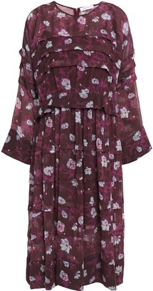 Carven Ruffle-trimmed Pleated Floral-print Georgette Midi Dress