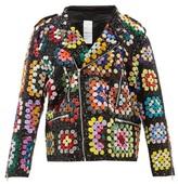 Ashish Sequinned Crochet-effect Biker Jacket - Womens - Black Multi