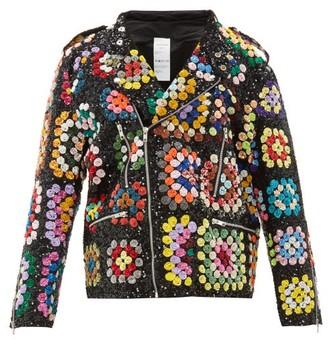 Ashish Sequinned Crochet-effect Biker Jacket - Black Multi