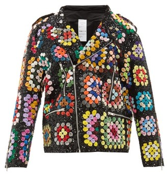 Ashish Sequinned Crochet-effect Biker Jacket - Womens - Black Multi