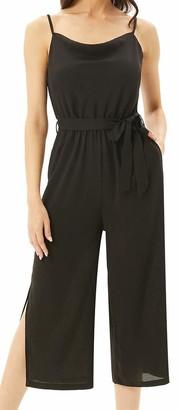 Liumilac Black Jumpsuits for Women Adjustable Spahetti Strap Side Split Jumpers Pockets