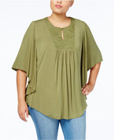 Melissa McCarthy Trendy Plus Size Embroidered Bib Top