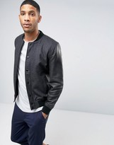 Selected Premium Wool Bomber with Leather Sleeves