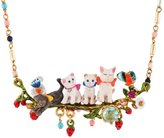 Les Nereides LITTLE CATS QUATUOR ON FLOWERED AND FRUITY BRANCH SHORT NECKLACE - Multicolor - O/S