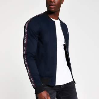 River Island Mens Navy Prolific muscle fit bomber jacket