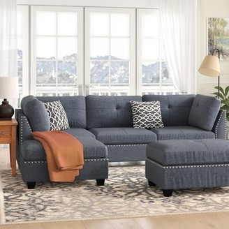 Winston Porter Milani Reversible Sectional with Ottoman Upholstery Color: Black