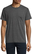7 For All Mankind Raw-Pocket Crewneck T-Shirt, Heather Charcoal