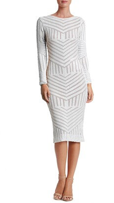 Dress the Population Emery Sequin Stripe Long Sleeve Cocktail Dress