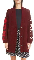 Kenzo Logo Wool Blend Long Cardigan