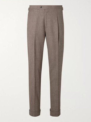 Saman Amel Taupe Tapered Pleated Melange Wool, Silk And Linen-Blend Suit Trousers