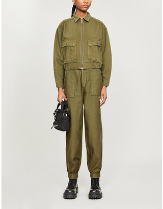 The Kooples Sport Cropped military cotton jacket