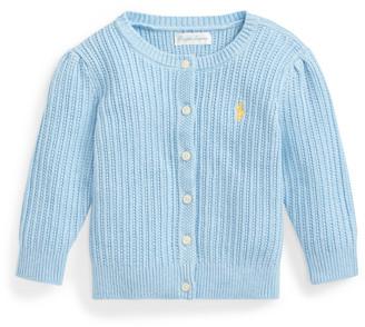 Ralph Lauren Puff-Sleeve Cotton Cardigan