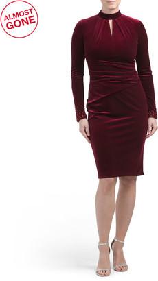 Stretch Velvet Keyhole Neck Dress