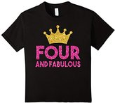 Kids Kids 4th Birthday Shirt For Girls: Four Princess Crown Gift