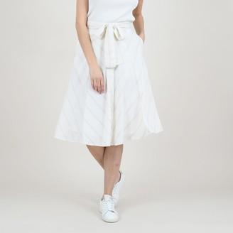 Molly Bracken Striped Midi Skirt with Tie-Waist