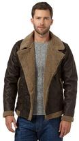 Mantaray Big And Tall Dark Brown Faux Leather Biker Jacket