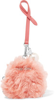 Miu Miu Faux Pearl-embellished Shearling And Leather Keychain - Pink
