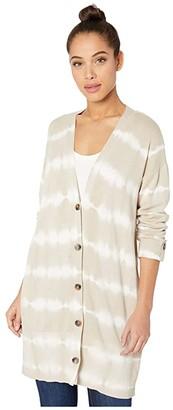Sanctuary Cardi Sweater (Modern Beige/White Tie-Dye Stripe) Women's Clothing